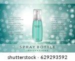spray bottle isolated on green... | Shutterstock .eps vector #629293592