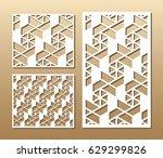 die cut card. laser cut vector ... | Shutterstock .eps vector #629299826