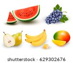 collection of fruit and berries.... | Shutterstock .eps vector #629302676