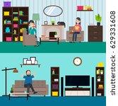 colorful living room horizontal ... | Shutterstock .eps vector #629331608