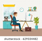 office workplace with table ... | Shutterstock .eps vector #629334482