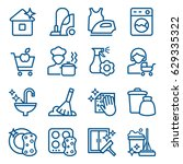 set of cleaning icons. vector... | Shutterstock .eps vector #629335322
