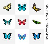 realistic common blue  green... | Shutterstock .eps vector #629338736