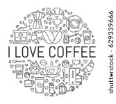 vector poster with coffee... | Shutterstock .eps vector #629339666