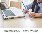 save a message with a book | Shutterstock . vector #629379032