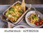 italian pasta with sauce ... | Shutterstock . vector #629382026