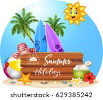 summer beach background | Shutterstock .eps vector #629385242