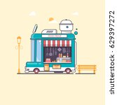 street and fast food truck flat ... | Shutterstock .eps vector #629397272