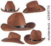 Set Of A Brown Cowboy Hats On...