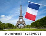 french flag hangs in the blue... | Shutterstock . vector #629398736