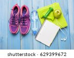 fitness healthy concept shoes... | Shutterstock . vector #629399672