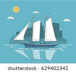 the yacht sailing in flat style ... | Shutterstock .eps vector #629402342