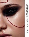 closeup beauty model with smoky ...   Shutterstock . vector #629418446