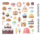 sweets and pastries flat style... | Shutterstock .eps vector #629424476