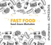fast food vector hand drawn... | Shutterstock .eps vector #629433656