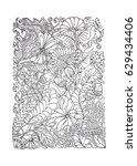 adult coloring page spring... | Shutterstock .eps vector #629434406