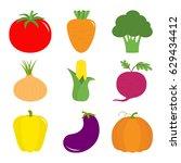 vegetable icon set. pepper ...   Shutterstock .eps vector #629434412