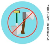 icons of an ax and a shovel... | Shutterstock .eps vector #629434862