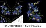 embroidery neckline design....   Shutterstock .eps vector #629441312