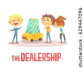 happy couple with car dealer in ... | Shutterstock .eps vector #629447096