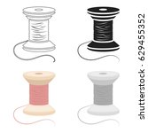 spool of thread icon of vector... | Shutterstock .eps vector #629455352