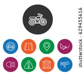 set of 9 road outline icons... | Shutterstock .eps vector #629455616