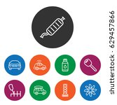 set of 9 car outline icons such ... | Shutterstock .eps vector #629457866