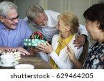 senior life celebration cake... | Shutterstock . vector #629464205