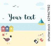 summer beach background  vector ... | Shutterstock .eps vector #629467982