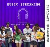 music audio headphones sign... | Shutterstock . vector #629472542