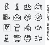 new icon. set of 16 new outline ... | Shutterstock .eps vector #629483696