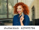 cheerful toothy smile woman... | Shutterstock . vector #629495786