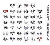 set of cute lovely kawaii... | Shutterstock .eps vector #629515592