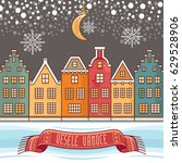 snowflakes  moon  houses  the... | Shutterstock .eps vector #629528906