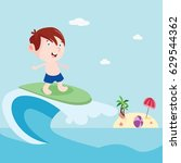 surfer boys in beach cartoon... | Shutterstock .eps vector #629544362