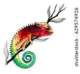 watercolor chameleon | Shutterstock . vector #629574926