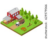 lumberjack and sawmill building ... | Shutterstock .eps vector #629579066