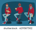 set of images of young man with ... | Shutterstock .eps vector #629587502