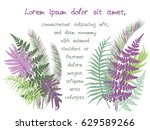 green and violet tropical... | Shutterstock .eps vector #629589266