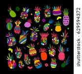 pineapple set  sketch for your... | Shutterstock .eps vector #629594372