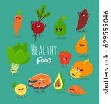 healthy food of set | Shutterstock .eps vector #629599046