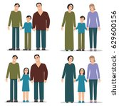 set homosexual family  men and... | Shutterstock .eps vector #629600156