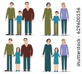 set homosexual family  men and... | Shutterstock .eps vector #629600156
