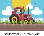 the tractor is on the field.... | Shutterstock .eps vector #629600636