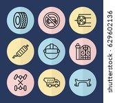 set of 9 car outline icons such ... | Shutterstock .eps vector #629602136