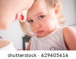 upset little girl. sad small... | Shutterstock . vector #629605616