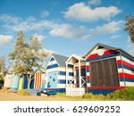 colourful bathing boxes on... | Shutterstock . vector #629609252
