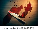 high contrast image of bloody... | Shutterstock . vector #629615192