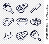 steak icons set. set of 9 steak ... | Shutterstock .eps vector #629622512