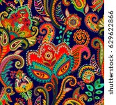 seamless pattern. indian floral ... | Shutterstock . vector #629622866